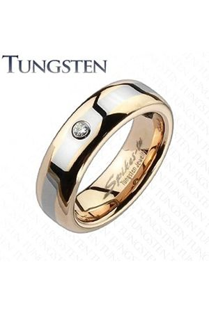 cored Wolfram Ring Bi-Coloured Red Gold with Rhinestone/Ring Width 6 mm (Select Your Size)