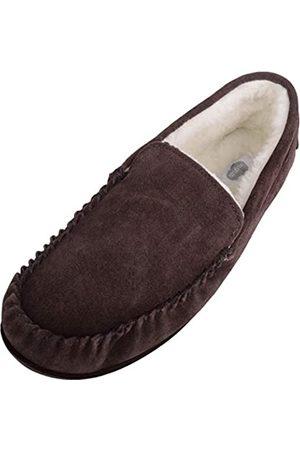 SNUGRUGS Men's Hugo Lambswool Loafer Moccasin Slippers - Dark - UK 9