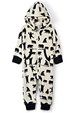 Hatley Little Blue House Women's Hooded Fuzzy Fleece Family Jumpuits Onesie, (Kid's Jumpsuit- Bears On Natural)