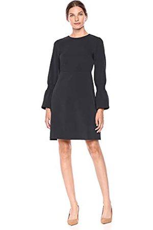 Lark & Ro Stretch Twill Gathered Sleeve Dress Dark Navy