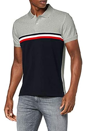 Tommy Hilfiger Men's GS Insert Colorblock Slim Polo Shirt, (Medium Heather/Multi 0CS)