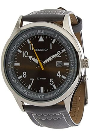 Sekonda Men's Quartz Watch with Brown Dial Analogue Display and Brown Leather Strap 3882.27