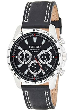 Seiko Men's Analogue Quartz Watch with Calfskin Strap – SSB033