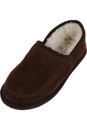 SNUGRUGS Unisex Suede Full Slipper with Full Wool Lining and Hard Sole - UK Size 8