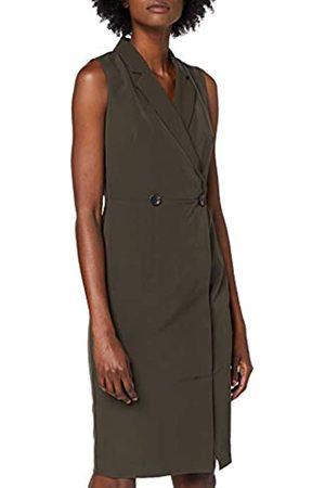 Dorothy Perkins Women's Khaki Wrap Tux Dress Knee-Length A-Line Party Dress