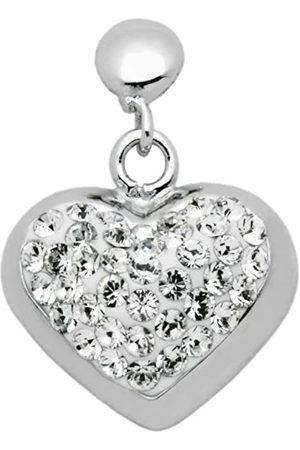 Carlo Monti Women's Stud Earrings with 925 Sterling Silver Rhodium Plated Heart Drop Earrings with Crystal Stones JCM1133 218