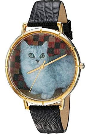 Whimsical Watches Munchkin Cat Black Leather and Goldtone Photo Unisex Quartz Watch with Dial Analogue Display and Leather Strap N-0120047
