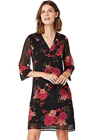 TRUTH & FABLE Amazon Brand - Women's Midi Chiffon A-Line Dress, 10