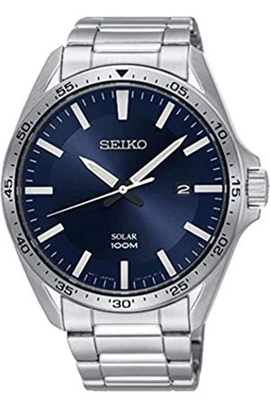 Seiko Mens Analogue Solar Powered Watch with Stainless Steel Strap SNE483P1