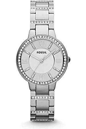 Fossil Virginia Stainless Steel Watch – Analogue Women's Quartz Wrist Watch with Clear Crystal Applications on Bezel and Bracelet in Gift Box - 10 ATM Water Resistant