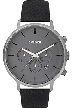 s.Oliver Mens Multi dial Quartz Watch with Leather Strap SO-3868-LM