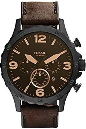 Fossil Mens Chronograph Quartz Watch with Leather Strap JR1487