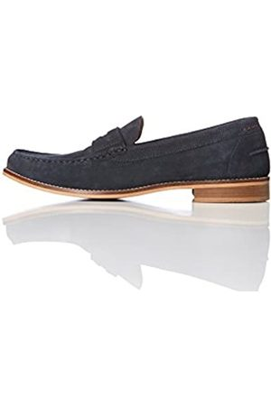 FIND Amazon Brand - Men's Suede Penny Loafers, (Navy)