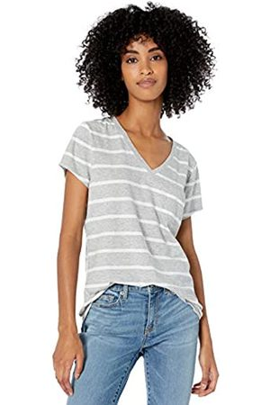 Goodthreads Washed Jersey Cotton Pocket V-neck T-shirt Heather Open Stripe
