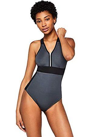 AURIQUE Amazon Brand - Women's Zip Front Swimming Costume, M