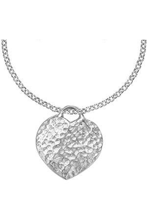 Dower & Hall Nomad Sterling Beaten Heart Pendant on Belcher Chain of Length 46cm