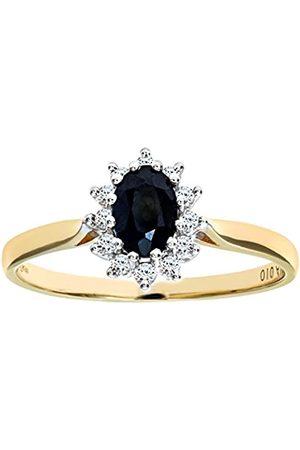 Naava 9 ct Diamond and Sapphire Cluster Women's Ring K