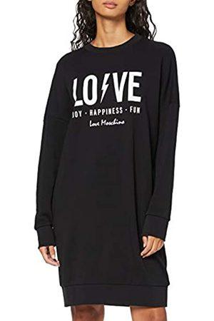 Love Moschino Women's Long Sleeve Fleece Logo & Flash Print_Ribbed Bottom and Cuffs Dress