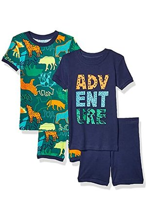 Spotted Zebra 4-piece Snug-fit Cotton Pajama Short Set Wild Adventure, L