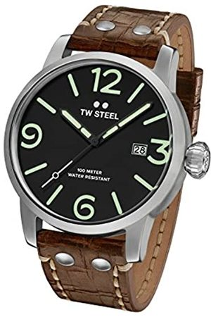 TW steel Maverick Men's Quartz Watch with Black Dial Analogue Display and Brown Leather Strap MS12