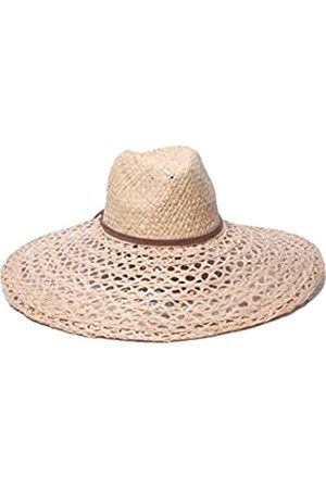 ale by Alessandra Women's Verona Large Brim Open Weave Raffia Hat with Leather Trim