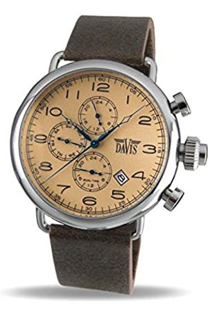 Davis 1932 - Mens Pilot Watch Retro Bronze Dial Day Date Dual time Brown Leather Strap