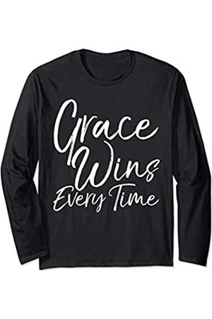 P37 Design Studio Jesus Shirts Cute Christian Quote Gift for Women Grace Wins Every Time Long Sleeve T-Shirt