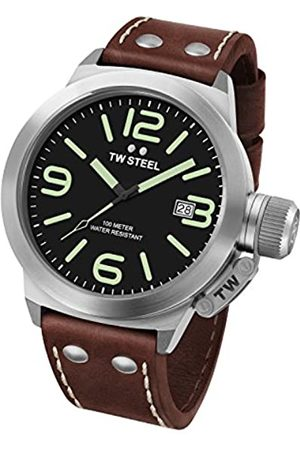 TW Steel Canteen Leather Unisex Quartz Watch with Black Dial Analogue Display and Brown Leather Strap CS21