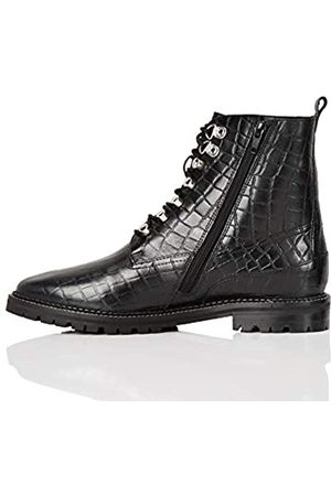 FIND Amazon Brand - Lace Up Leather Croc Biker Ankle Boots, )