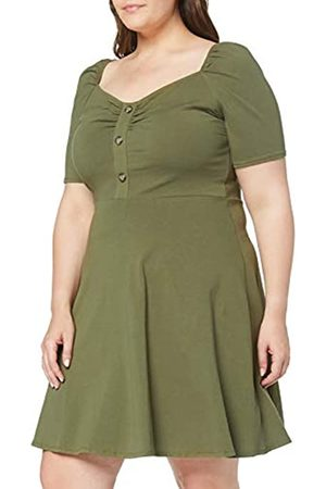 Dorothy Perkins Women's Button Ruched Khaki Dress Party