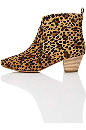 FIND Leather Casual Western Ankle Boots, Leopard)