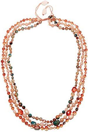 Lola Rose Women's Base Metal Ipanema 3 Row Tie Dye Agate Necklace of Length 50 cm