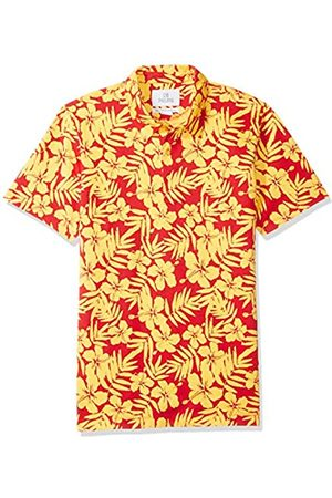 28 Palms Relaxed-Fit Hawaiian Performance Pique Polo Shirt Crimson/ Floral