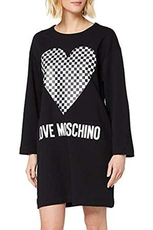 Love Moschino Women's Long Sleeve Hooded Fleece Logo & Checkered Heart Print Dress