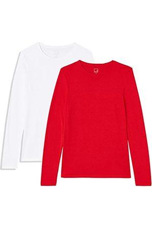 MERAKI Amazon Brand - Women's Long Sleeve Crew Neck T-Shirt, Pack of 2