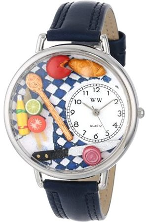 Whimsical Gourmet Navy Blue Leather and Silvertone Unisex Quartz Watch with Dial Analogue Display and Leather Strap U-0310001