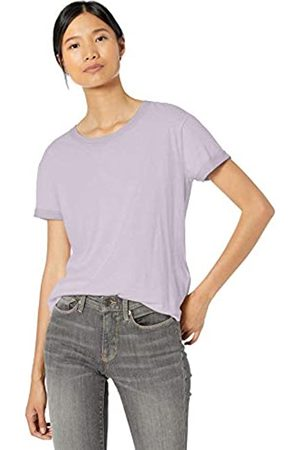 Goodthreads Washed Jersey Cotton Roll-Sleeve Open Crewneck T-Shirt Lavender