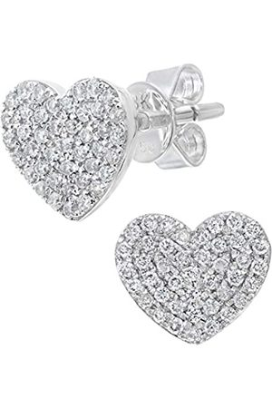 Naava Women's 0.25 ct Pave Set Diamond Heart 18 ct Gold Stud Earrings