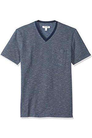 Goodthreads Men's Short-Sleeve Indigo V-Neck Pocket T-Shirt, Dark Feeder Stripe