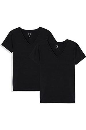 MERAKI Amazon Brand - Women's Solid V-Neck T-Shirt, Pack of 2