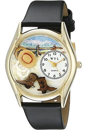 Whimsical Ranch Black Leather and Goldtone Unisex Quartz Watch with Dial Analogue Display and Leather Strap C-0110005