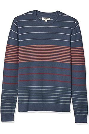 Goodthreads Men's Standard Soft Cotton Multi-Color Striped Crewneck jumper, Navy Desert