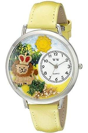 Whimsical Lion Yellow Leather and Silvertone Unisex Quartz Watch with Dial Analogue Display and Leather Strap U-1610006