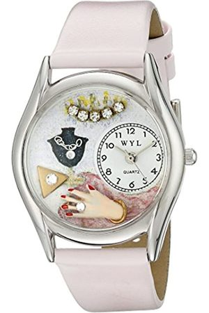 Whimsical Watches Jewelry Lover Pink Leather and Silvertone Unisex Quartz Watch with Dial Analogue Display and Leather Strap S-0910013