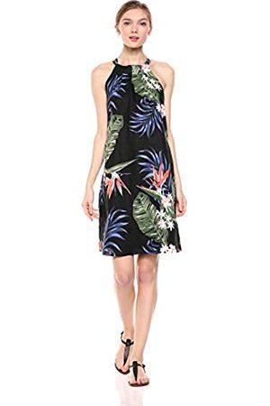 28 Palms Womens 100% Linen Halter Hawaiian Print Shift Dress Solid 100% Linen Halter Hawaiian Print Shift Dress Sleeveless Casual Dress