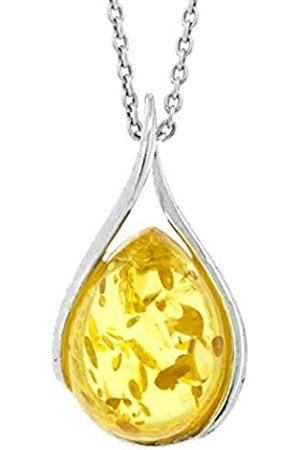 Nova Silver Lemon Amber Twist Pendant on 18 inch (46cm) Chain in presentation box
