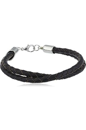 cored C33-schwarz Bracelet Woven Double Leather with Carabiner Clasp 21 cm