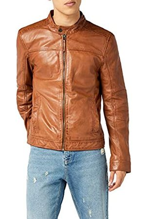 Kings on Earth Men's Leather Biker Jacket, Slim Fit