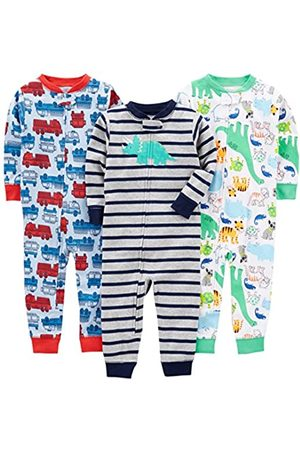 Simple Joys by Carter's 3-pack Snug Fit Footless Cotton Pajamas Set, Fire Truck/Dino/Animals