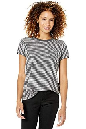 Goodthreads Vintage Cotton Pocket Crewneck T-shirt Charcoal Heather Mini Stripe